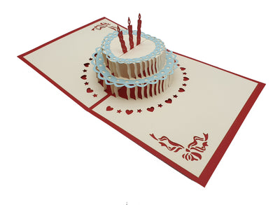 Birthday Cake Pop Up Card Red Front