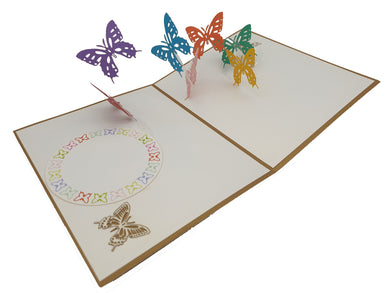Butterfly Multicolored 3D Pop Up Card
