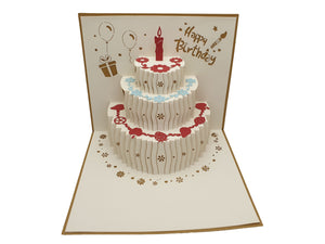 Pop Up Birthday Cake Card Gold