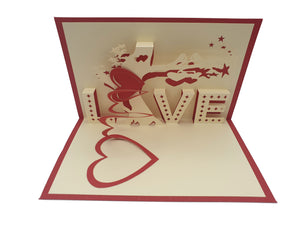"3D ""Love"" text with two birds Pop Up Card"