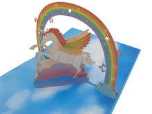 Load image into Gallery viewer, Flying Unicorn Rainbow 3D Pop Up Card
