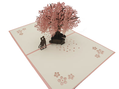 Pink Tree with Couple 3D Pop Up Card