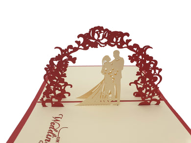 Wedding Day Arch Couple Pop Up Card