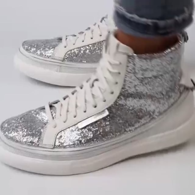 Load image into Gallery viewer, Urban Bianca + Sneaker High Glitter Argento