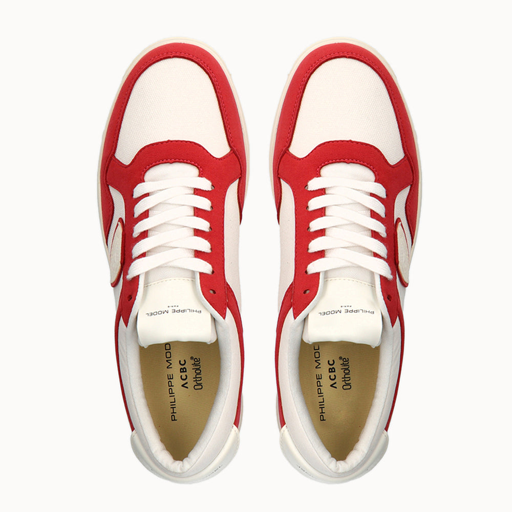 Philippe Model Lyon White and Red GOTS Cotton - ACBC Sustainable Shoes