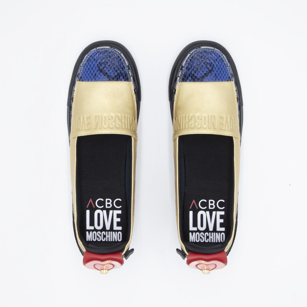 Load image into Gallery viewer, ACBC sustainable women's shoes -LoveMoschino Espadrilla Gold