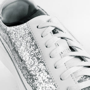 Load image into Gallery viewer, Urban Bianca + Sneaker Glitter Argento