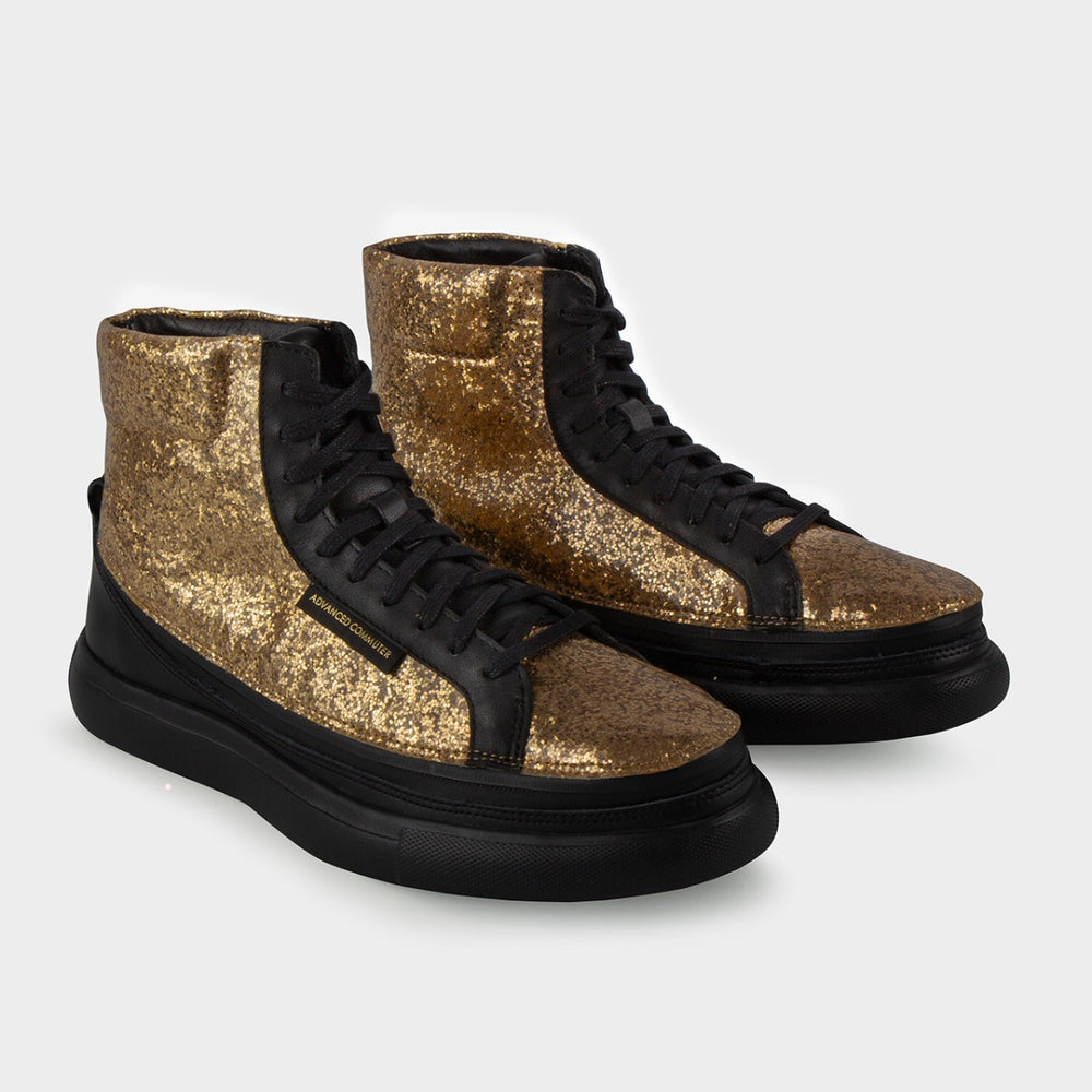 Load image into Gallery viewer, Urban Nera + Sneaker High Glitter Oro