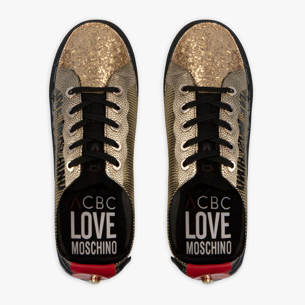 Load image into Gallery viewer, ACBC Zip Shoes - LoveMoschino Sneaker Gold