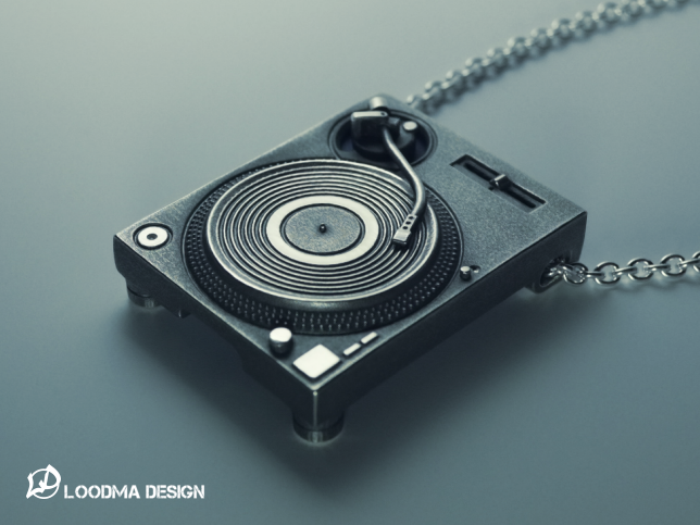 Turntable Necklace / SD Card Holder