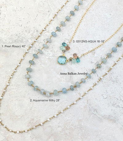 Limited Edition Layering Set with Aquamarine and Pearls w Free Earrings-Anna Balkan