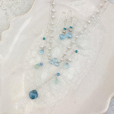 Perfectly Styled Blue Gems Layered Set with Topaz