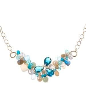 Ray Branch Necklace with Bezeled Tri-Leaf-Anna Balkan