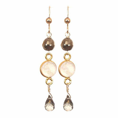 Pearl Druzy Dangle Earrings-Anna Balkan
