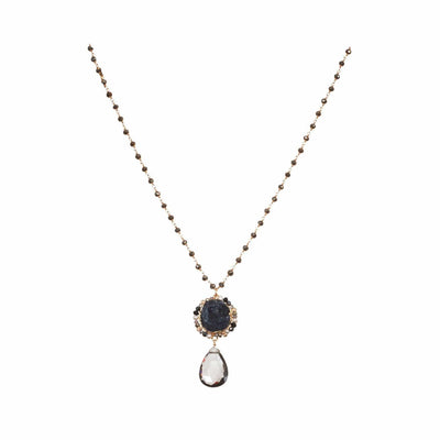 Long Druzy and Carbon Quartz Pendant Necklace - Anna Balkan