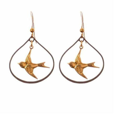 Bird Mix Metal Lily Petal Hoop and Gems Earrings-Anna Balkan