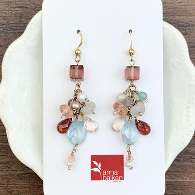 Playful Colorful Gems Mix Shape Earrings - Anna Balkan