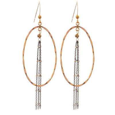 Hannah Chains Mix Metal Oval Hoop Earrings-Anna Balkan