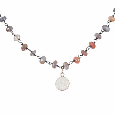 Medium Dot Druzy Gem Necklace - Anna Balkan