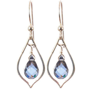 Elegant Everyday Earrings w Teardrop Gem-Anna Balkan
