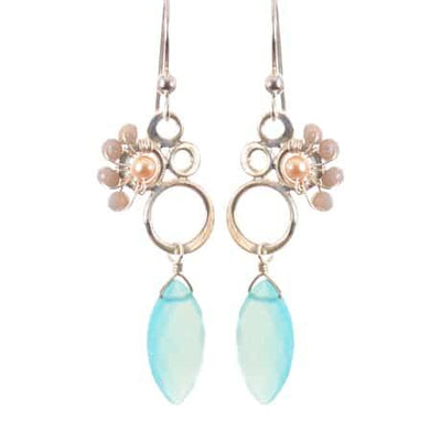 Bubbles Colorful Earrings w Marquee Gem Drop - Anna Balkan