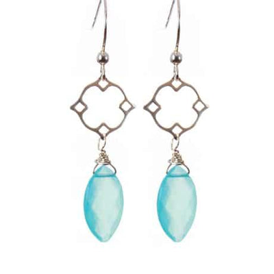 Filigree Earrings w Marquee Gem Drop-Anna Balkan