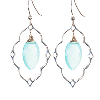 Statement Filigree Earrings w Marquee Gem - Anna Balkan