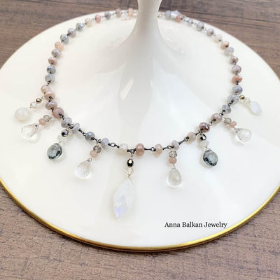 "Large Statement Mixed Shape Gemstone Necklace on Moonstone 18""-Anna Balkan"