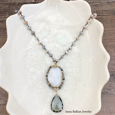 "Statement Druzy and Gems Long Layering Necklace 26-28""-Anna Balkan"