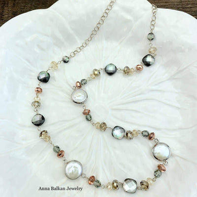 "Gemstone Mid Length Layering Necklace 28""-Anna Balkan"