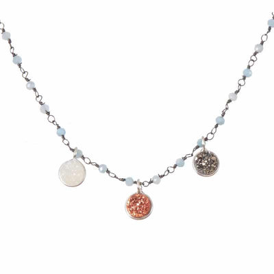 Dot Druzy 3-Gem Necklace-Anna Balkan