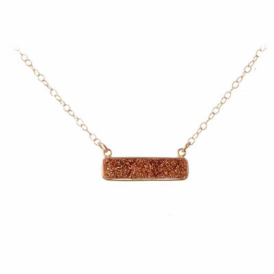 Harper Druzy Gemstone Bar Necklace - Anna Balkan