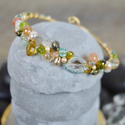 Signature Sheppard's Hook Gemstone Bracelet with Rock Crystal-Anna Balkan