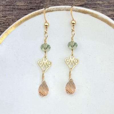 Mini Filigree Earrings w Tear Gem Drop-Anna Balkan
