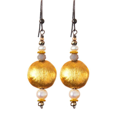 Everyday Gold - Satin Finish Brushed Gold Earrings-Anna Balkan