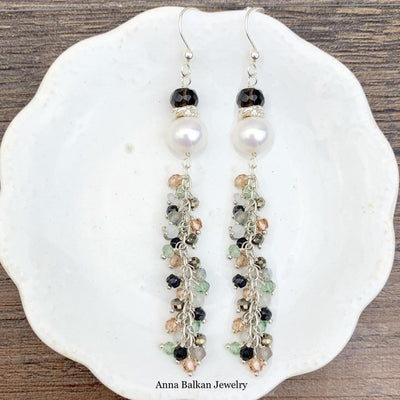 Pearl and Tailfeather Earrings-Anna Balkan