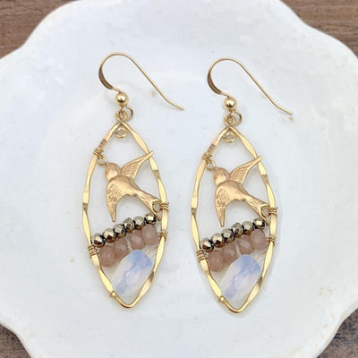 Marquee Gem, Hoop and Bird Earrings-Anna Balkan