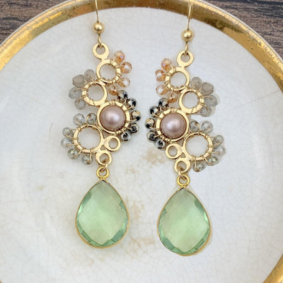 Bubble Earrings w/ Bezeled Gem-Anna Balkan