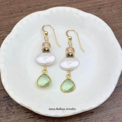 Gems, Pearl and Bezeled Gem Earrings-Anna Balkan
