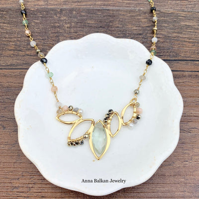 "Open Lotus w/ Marquee Gem Necklace 16-18""-Anna Balkan"