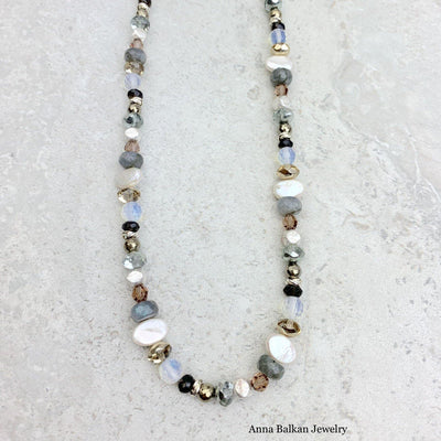 "Beaded Necklace w/ Pearls and Gems 18""-Anna Balkan"