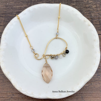 "Wrapped Swirl w/ Marquee Gem Necklace 16-18""-Anna Balkan"