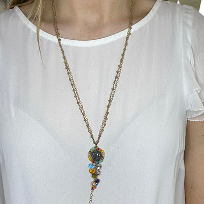 Long Colorful Druzy Pendant Necklace-Anna Balkan