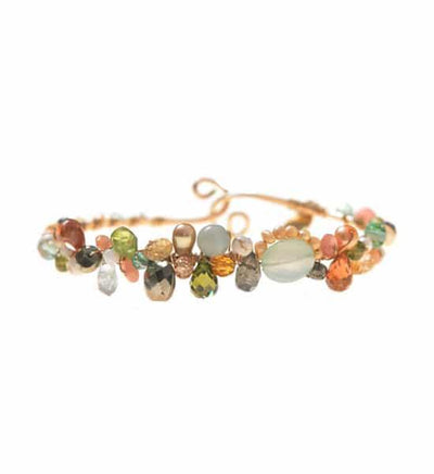 Signature Sheppard's Hook Gemstone Bracelet with Aqua Chalcedony-Anna Balkan