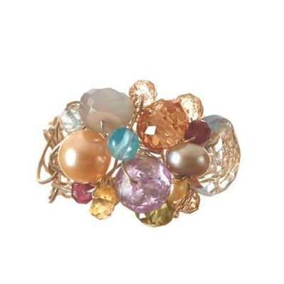 Signature Adjustable Woven Gemstone Ring-Anna Balkan