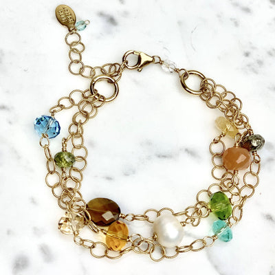 Three Strand Gemstone Bracelet with Whiskey Quartz-Anna Balkan
