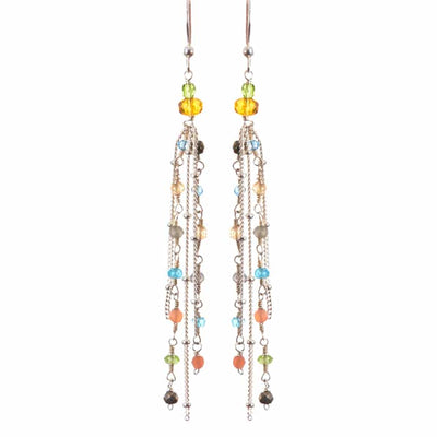 Playful Multistrand Colorful Tassel Earrings-Anna Balkan