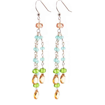 Playful Multistrand Colorful Tassel Earrings w Gem Drops-Anna Balkan