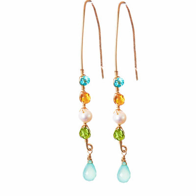 Elegant Stick Earrings w Teardrop Gem Drop-Anna Balkan