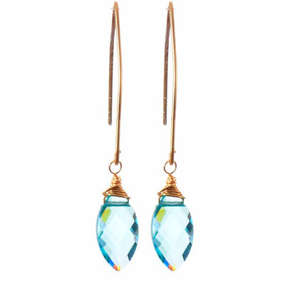 Elegant Earrings w Marquee Gem Drop - Anna Balkan